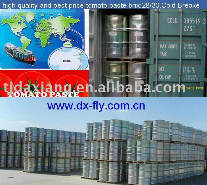 drums tomato paste (2009 high quality and best price tomato paste brix28/30 ,cold breake,in Drum)