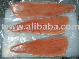 frozen chum or pink salmon fillet