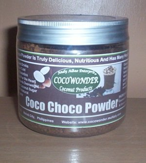 "COCONUT CHOCO POWDER - instant ""Hot or Cold Native Chocolate, Truly Delicious and Chemical Free"