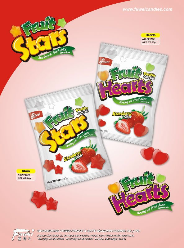 Pectin Fruit Hearts & Stars gummy candy