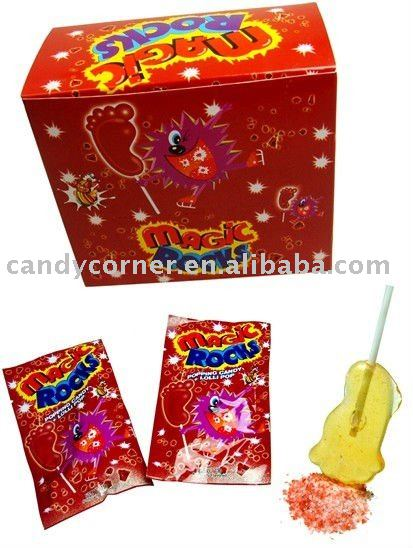 Magic popping candy with lollipop