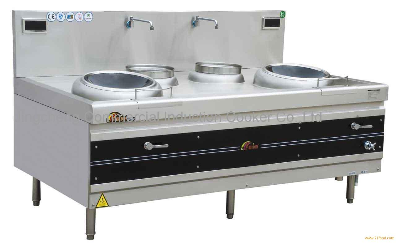 Commercial Induction Cooker - Double Burner Frying Wok