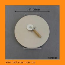 "15"" Round Ceramic Pizza Stone Set w/ Rack and Cutter(Customized Size/Color Are Welcomed)"