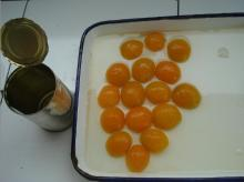 Canned Apricot fruit halves golden sun in light syrup
