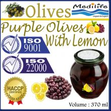 High Quality 100% Tunisian Purple Table Olives with Lemon, Purple Table Olives. 370 ml Glass Jar