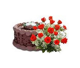 chocolate cake with flower