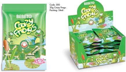 BEBETO 20g Crazy Frogs Jelly Gum