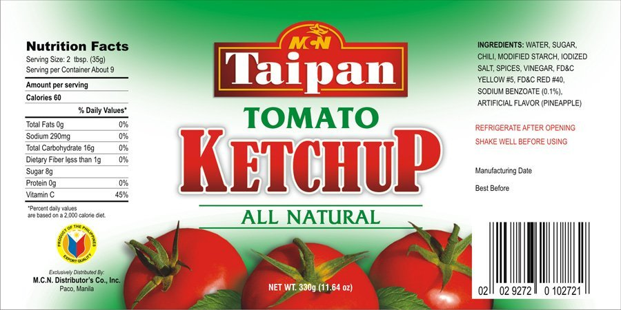 Food Ingredients Condiments Sauces Manufacturer Mail: Taipan Tomato Ketchup Products,Philippines Taipan Tomato