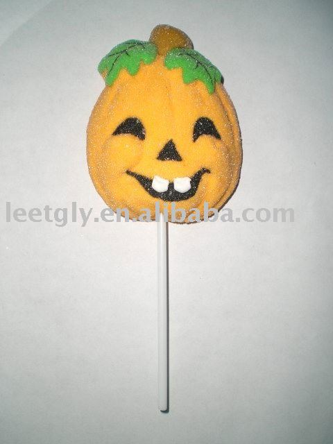 3-D decorated Halloween pumpkin Marshmallow lollipop