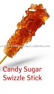 Brown rock sugar on sticks