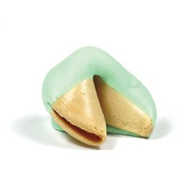 Traditional Fortune Cookies Dipped in Green/White Chocolate