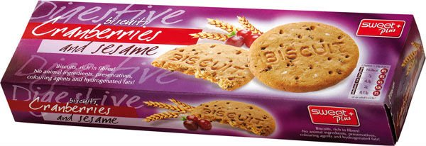 DIGESTIVE biscuits with cranberries and sesame 155 g