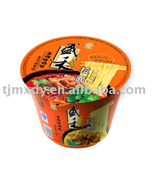 Spicy artificial beef flavored instant ramen noodles