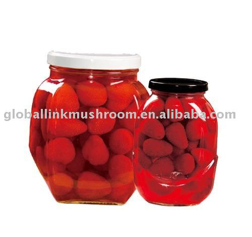 canned strawberry in jar