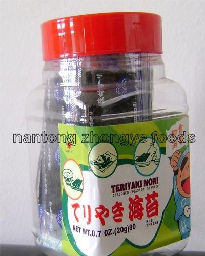 0.7OZ 20g 80pcs bottled seasoned roasted seaweed snack