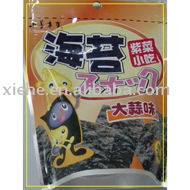 Seaweed snack (Food-garlic flavor,seasoned seaweed)