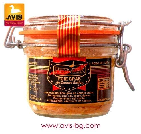 Foie Gras Entier (Whole Duck Liver) 180 gr. in a glass jar