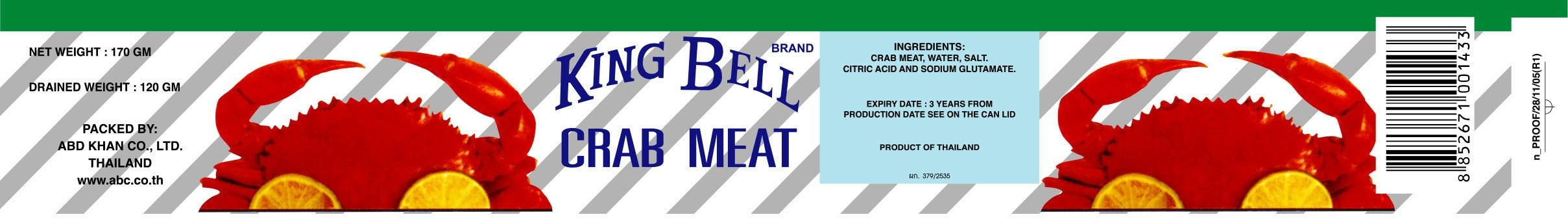 Crabmeat in Brine - 170 gms x 24