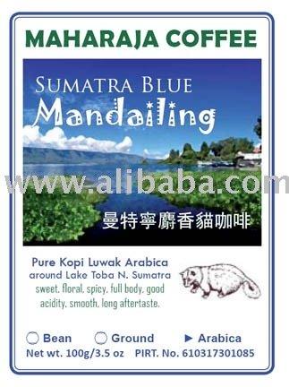 Roasted Kopi Luwak Sumatra Blue Mandheling bean