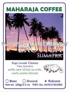 Exotica Sumatra Roasted Robusta kopi luwka Bean