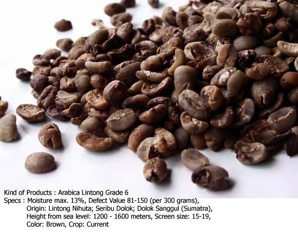 Arabica Lintong Grade 6 Coffee Beans
