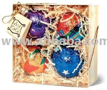 4 Piece Ornament Gift Box   Chocolate
