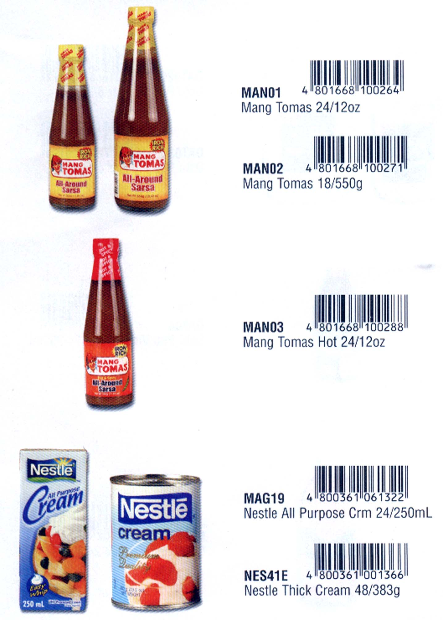 Nestle Cream Amp Mang Tomas Sauce Products Philippines