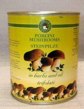 Canned truffed Boletus Edulis mushrooms in oil