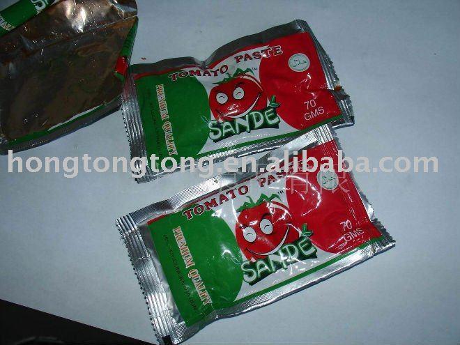 70g sachet tomato paste with ISO20002