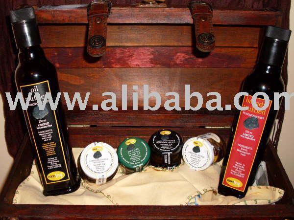 Truffle, olive oil extra virgin, oil of truffle, hams. . . . . . . . .