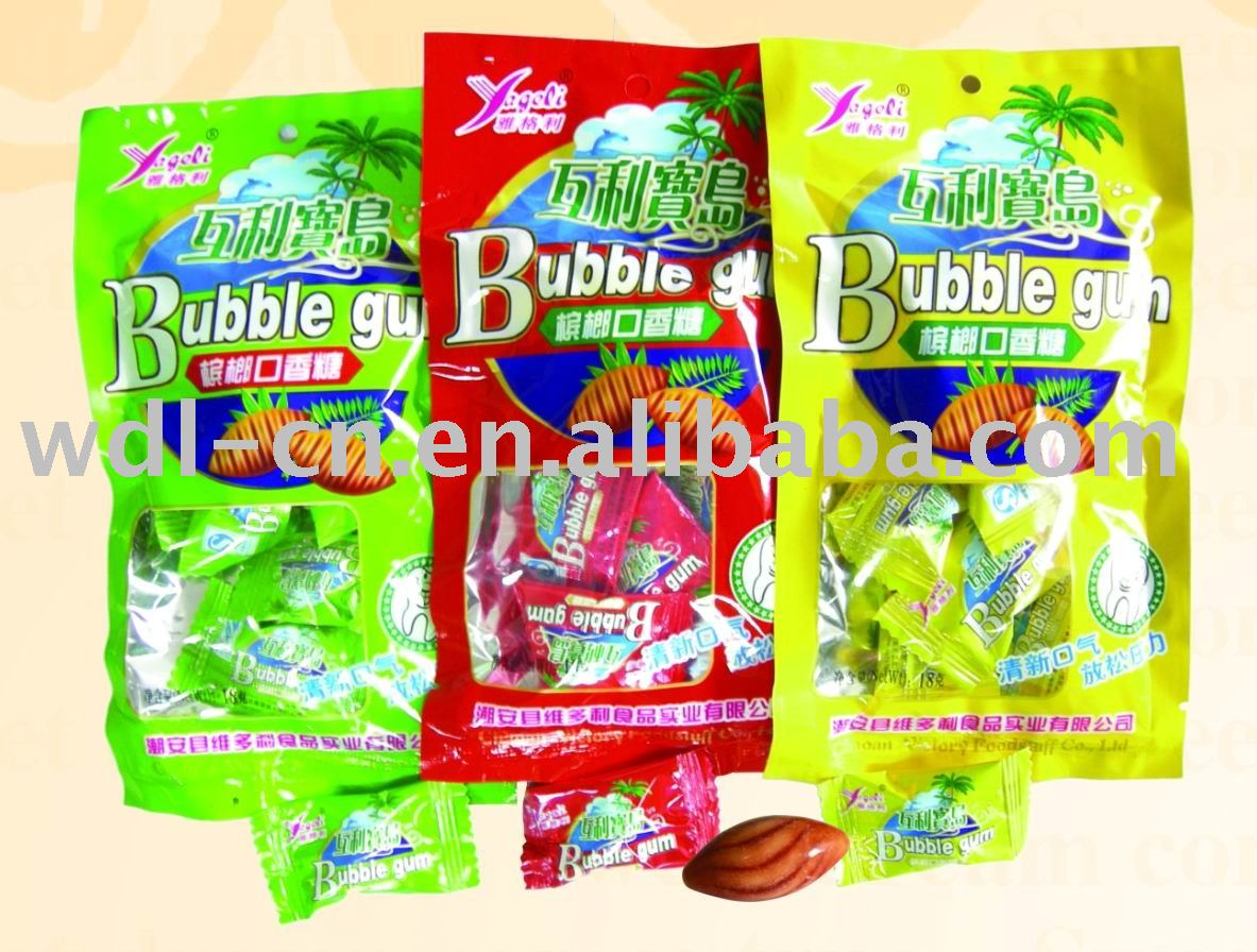 Betelnut bubble gum in printed bag(candy  chewing gum)