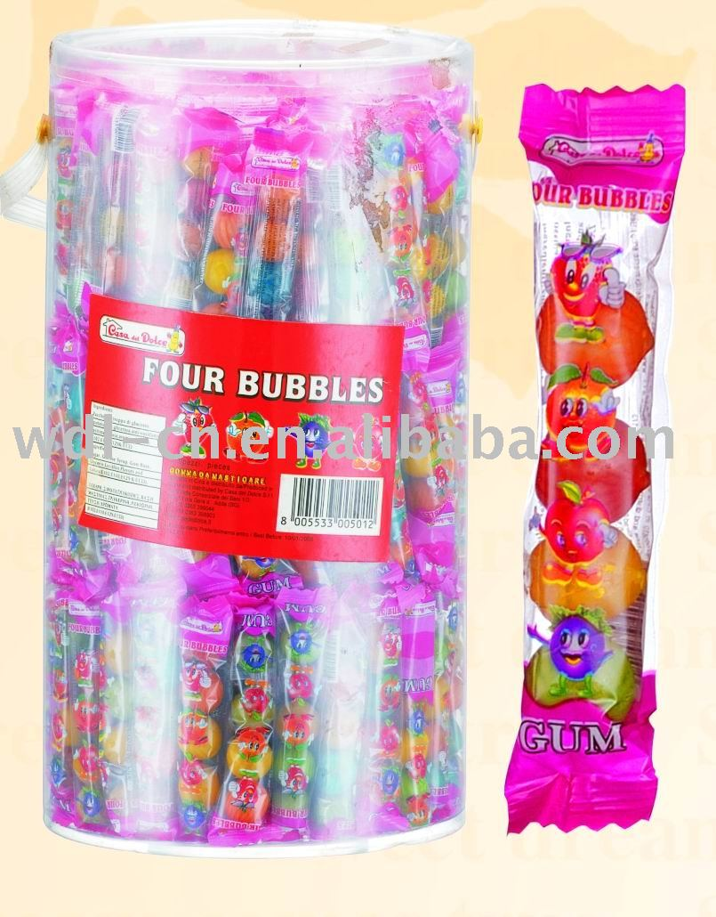 4ct tube packed watermelon  gum  balls in PVC jar(fruit flavor  chewing   gum    confectionery )