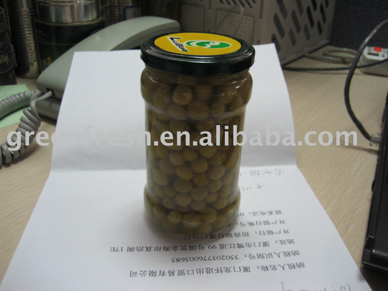 Canned Green Peas in Jar