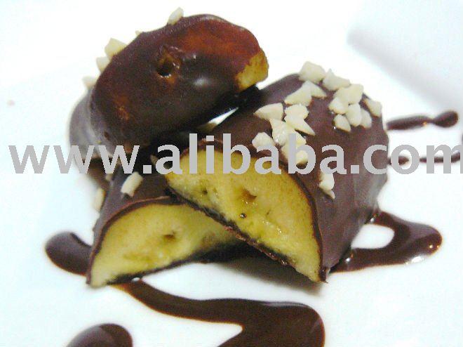 Frozen Bananas Coated Chocolate