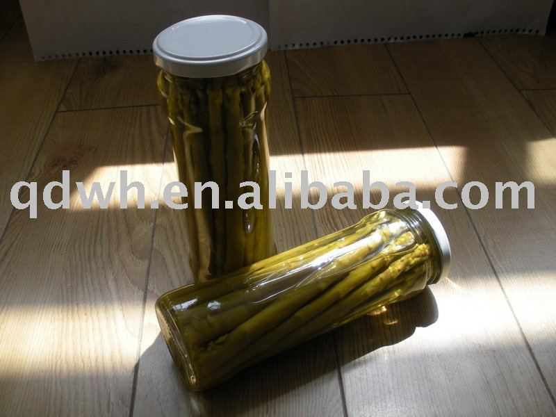 Canned green asparagus in glass jar
