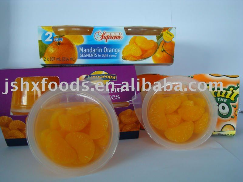 canned fruit-  mandarin orange in plastic cup