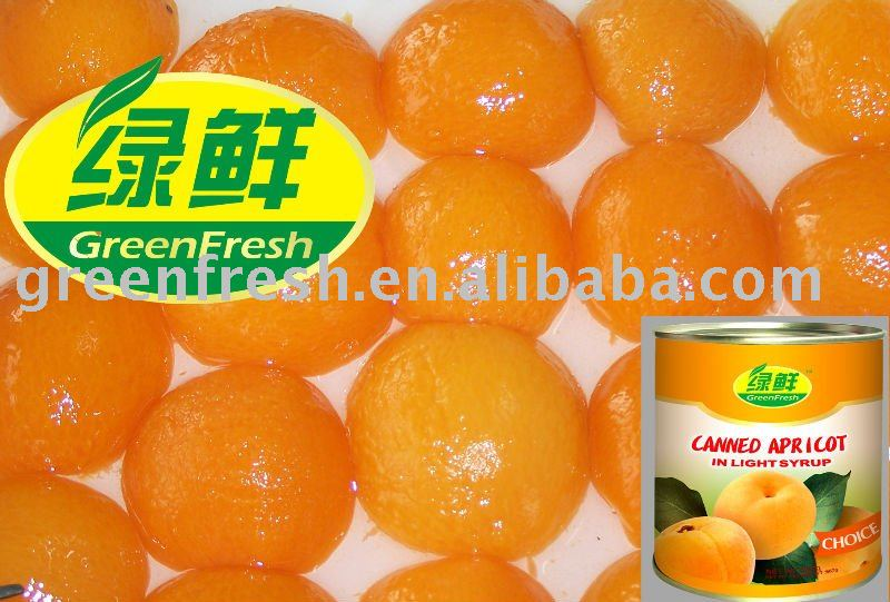 Canned Apricot Halves in light syrup, 3000g x 6, dw1800g
