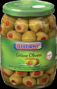 Filled green olives with peppers