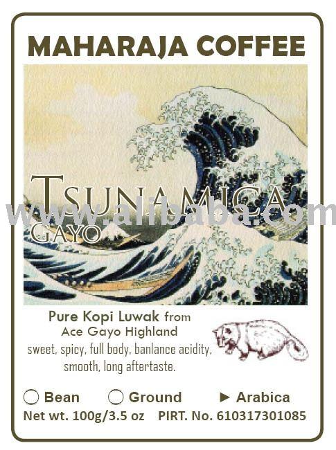Tsunami Roasted Kopi Luwak Arabica Aceh Gayo highland drink