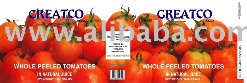 Whole Peeled Tomato in Natural Juice 2,900 gms.
