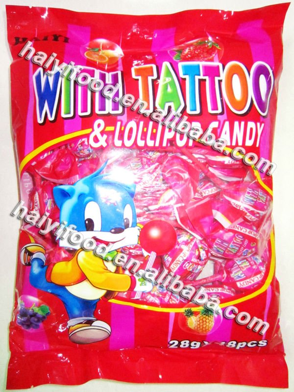 lollipop with tattoo candy