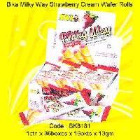 Milk Way Strawberry Flv. Cream Wafer Rolls