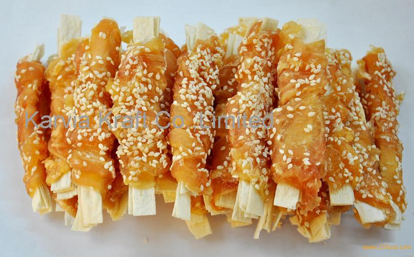 dired meat dog chews chicken pollock with sesame