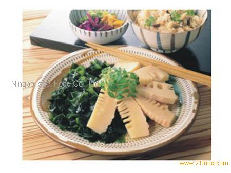 seasoned bamboo shoots in plate
