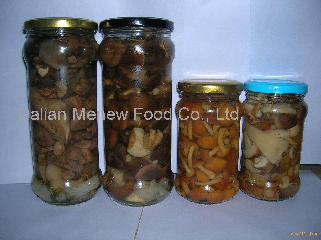 canned mushroom marinated in glass jars