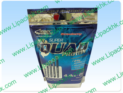 Aluminium Foil Stand Up Pouch With Resealable Zipper For Protein Powder