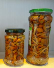 canned nameko mushrooms marinated in glass jar