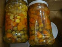 Canned Mixed Vegetables in glass jar