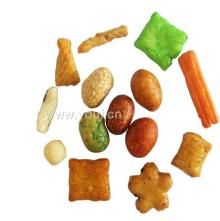 rice crackers and coated peanuts