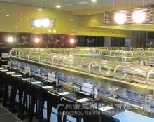 Double-deck warm and cooling rotary sushi conveyor belt